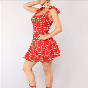 Fun red polka dot dress